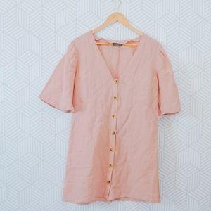 Topshop Pink Linen Angel Sleeve Button down dress
